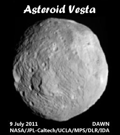 Image of Vesta from NASA's Dawn spacecraft, taken on 9 July 9 2011 from a distance of 26,000 miles (41,000 kilometers) away.