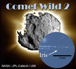 Composite image of comet Wild 2 taken by the Stardust Navigation Camera during the 2004 flyby overlain by plain light image of Wild 2 fragment 'Iris' in aerogel tile.