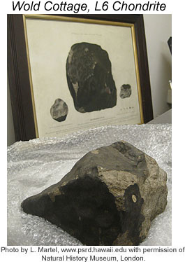 Photo of the Wold Cottage meteorite.