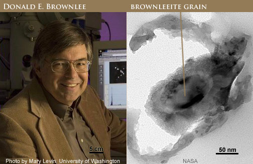 Dr. Donald E. Brownlee and image of brownleeite grain in IDP