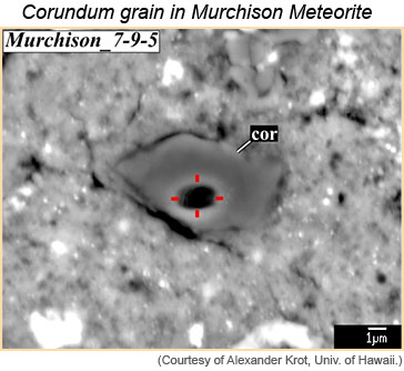 Corundum grain in the Murchison carbonaceous chondrite with one micrometer scale bar.