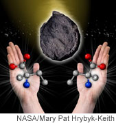 This artist's view uses hands to illustrate the left and right-handed versions of the amino acid isovaline. Credit: NASA/Mary Pat Hrybyk-Keith.