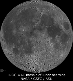 LROC WAC mosaic of the lunar nearside. NASA/GSFC/ASU