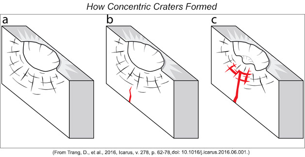 Cartoon showing three stages in the formation of lunar concentric cratets.