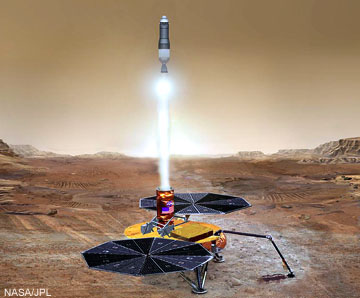 In the future, NASA plans a sample-return mission to Mars, as depicted in this artist's rendition. Click for more information.