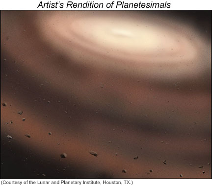An artist's rendition of planetesimals in the solar nebula.