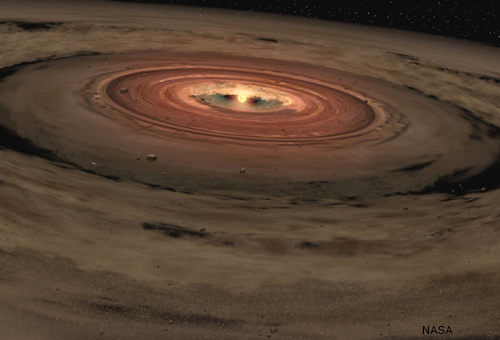 Artist's illustration of protoplanetary disk around a young star.