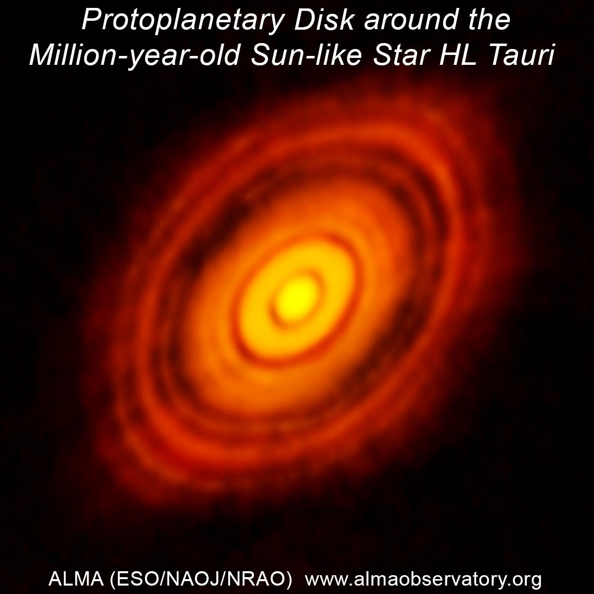 ALMA image of the protoplanetary disk surrounding the star HL Tauri. The image was constructued by combining the radio waves collected by multiple antennas in the Atacama Large Millimeter/submillimeter Array. Credit: ALMA (ESO/NAOJ/NRAO)