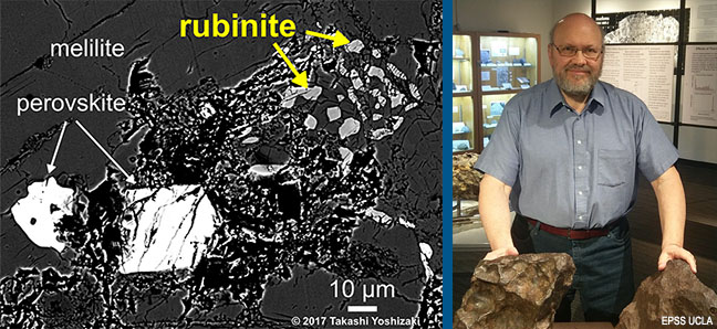 SEM image of new mineral, rubinite, from sample of Allende meteorite and photo of Dr. Alan Rubin.