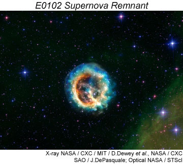 Supernova remnant E0102. Click for more information.